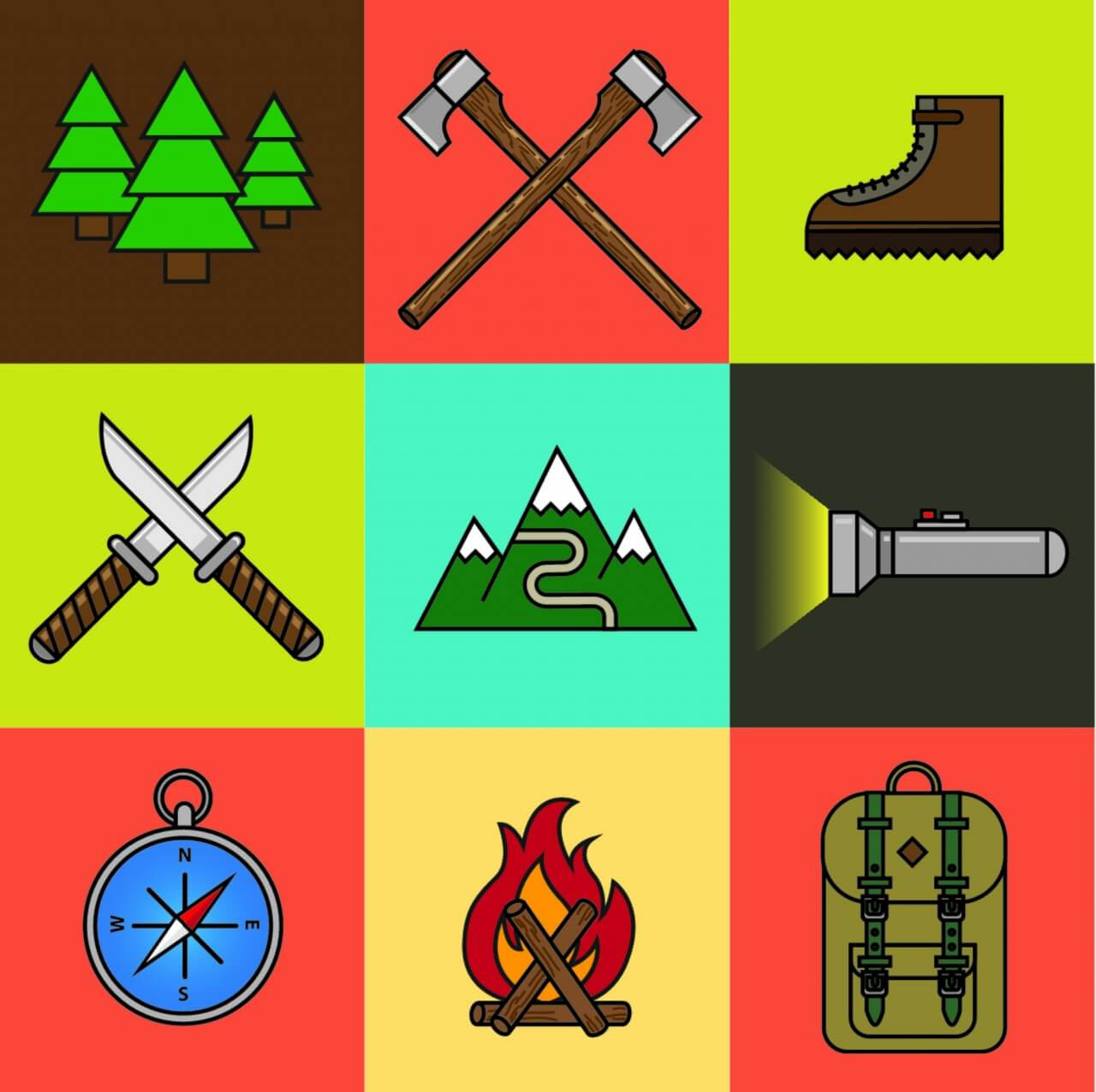 "Free vector ""Camping Icon Set"""