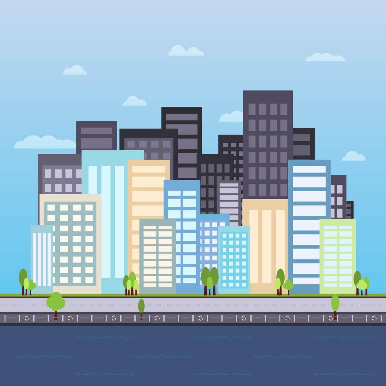 """Free vector """"City by the Pier Illustration"""""""