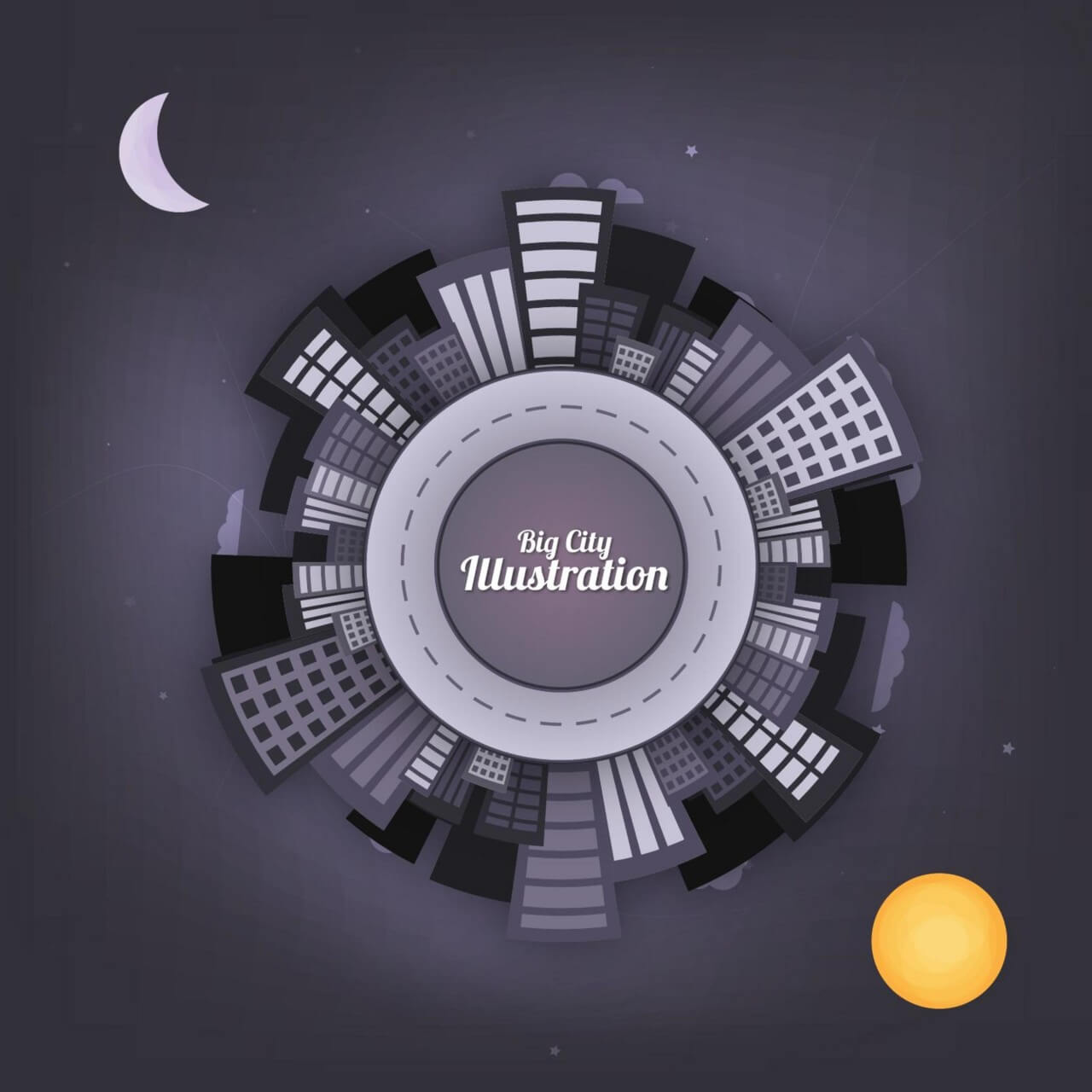 "Free vector ""City at Night Vector Illustration"""