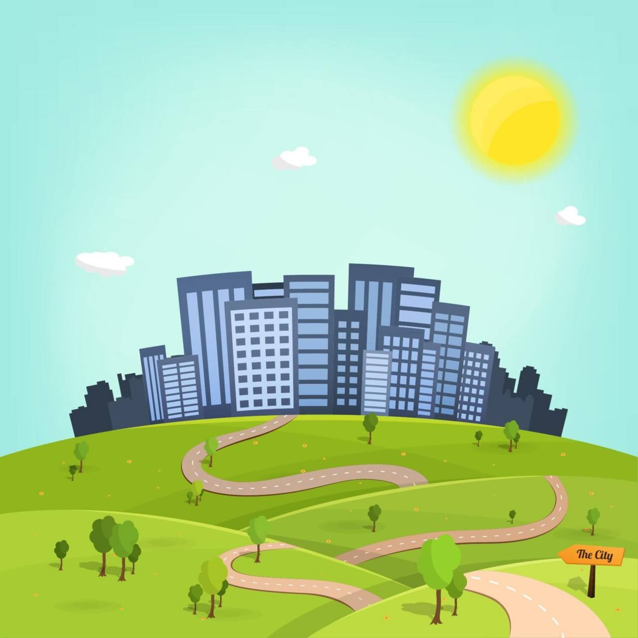 "Free vector ""To the City Illustration"""