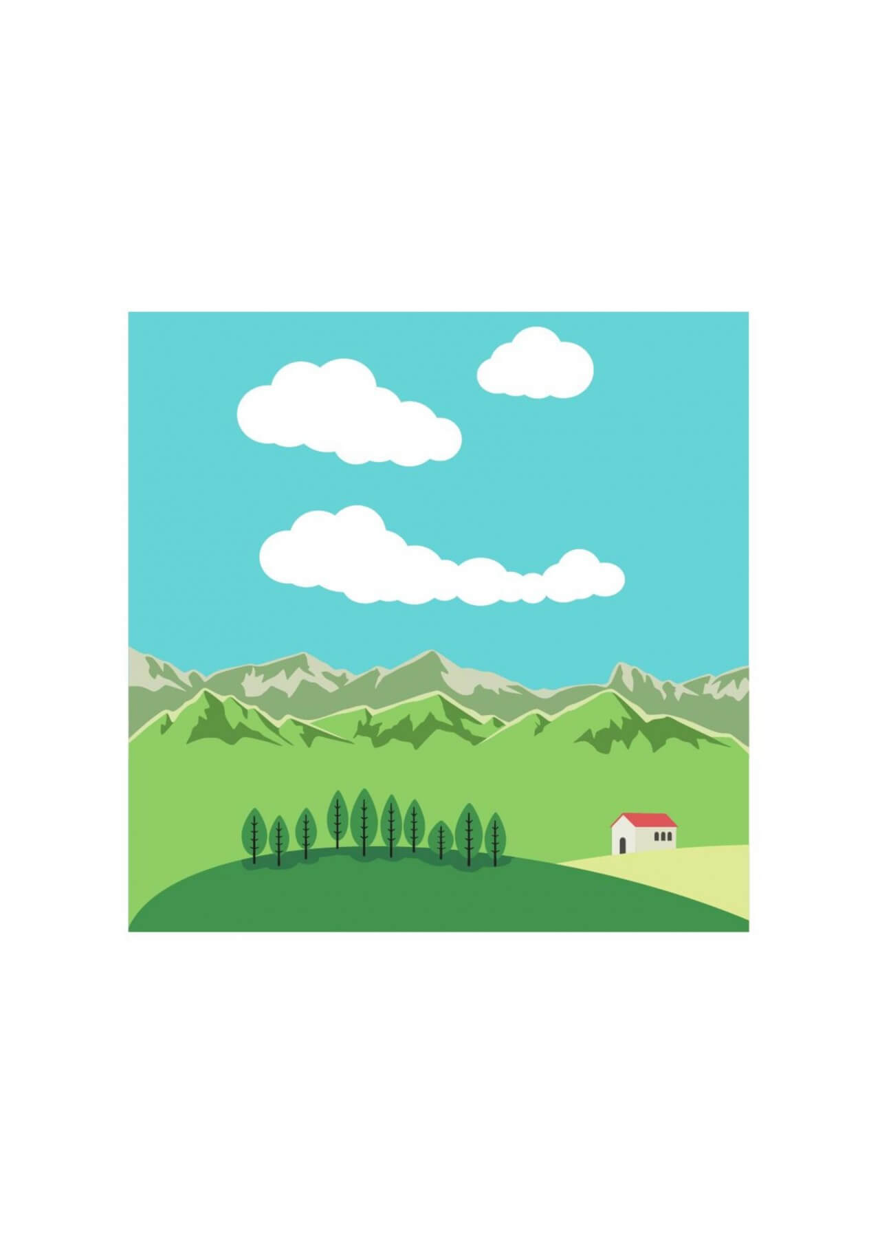 "Free vector ""Vector illustration Mountain landscape"""