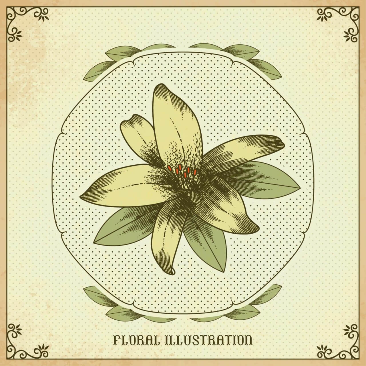 "Free vector ""Vintage illustration with vintage flower"""