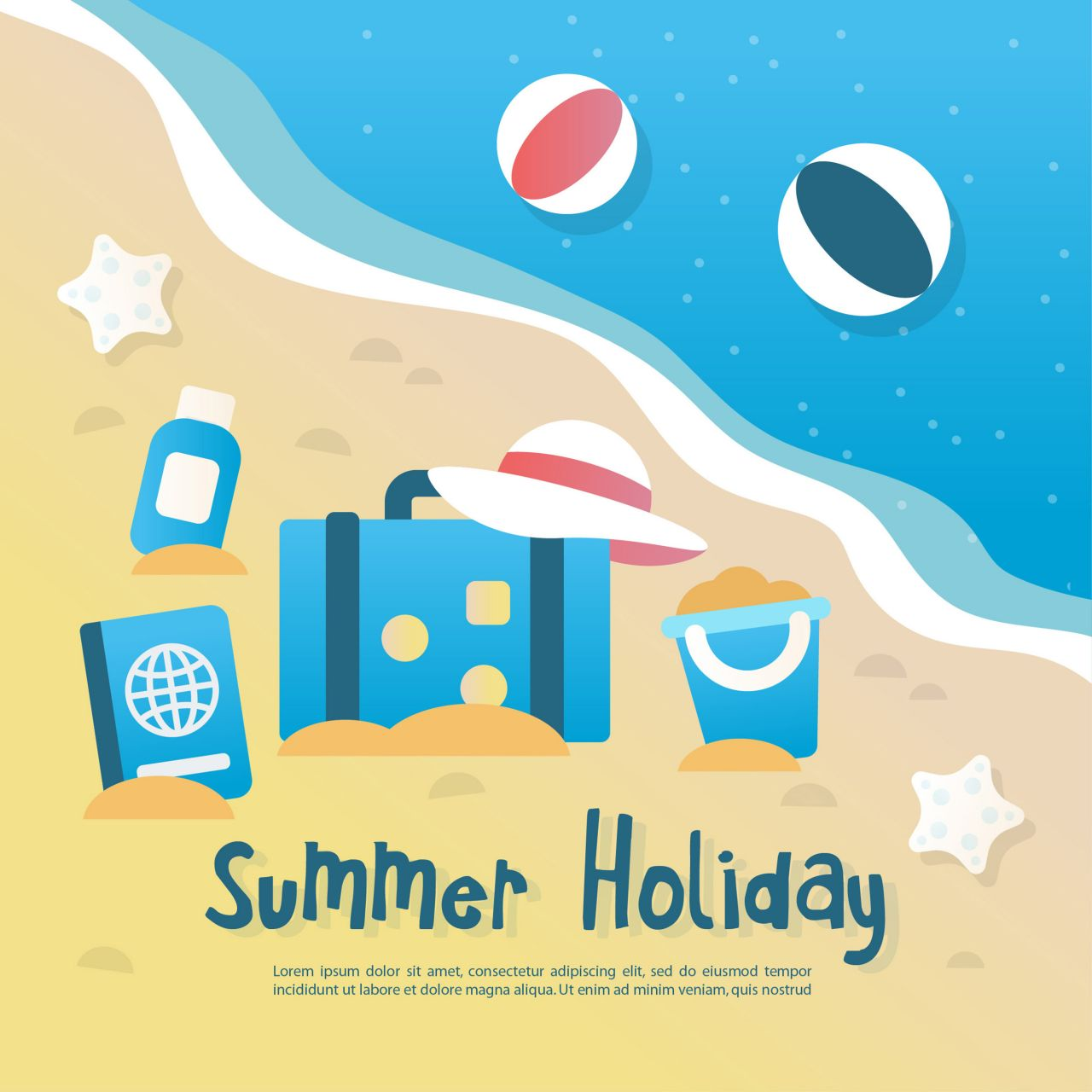 "Free vector ""Summer background illustration with elements """