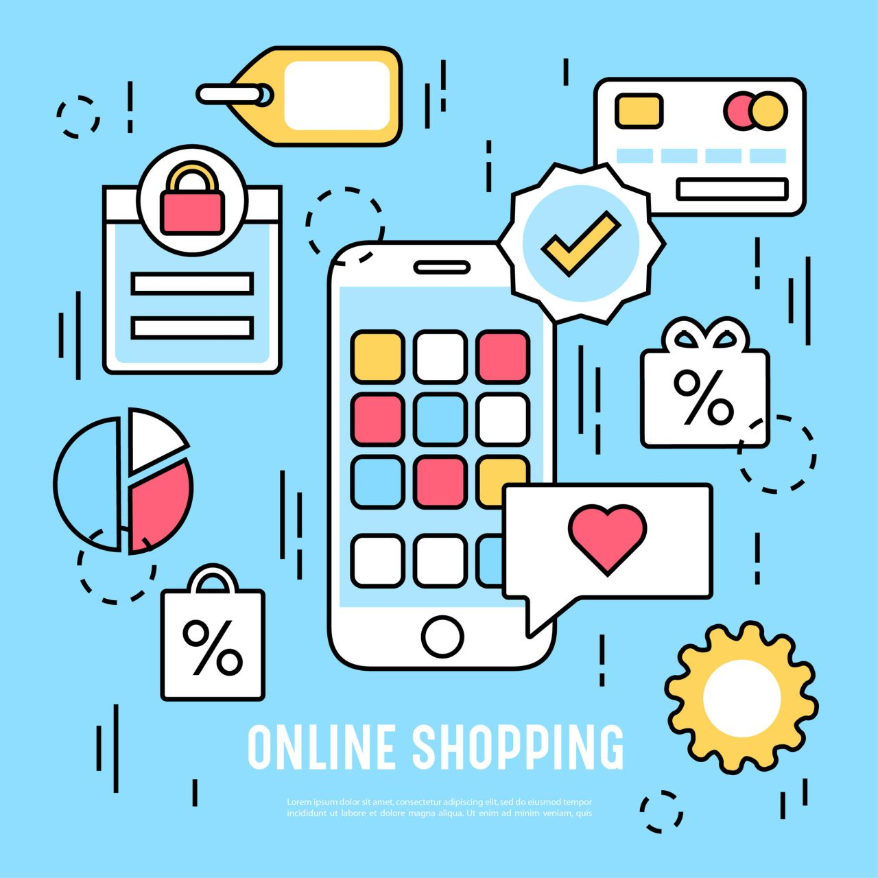 "Free vector ""Vector elements and icons for online shopping"""