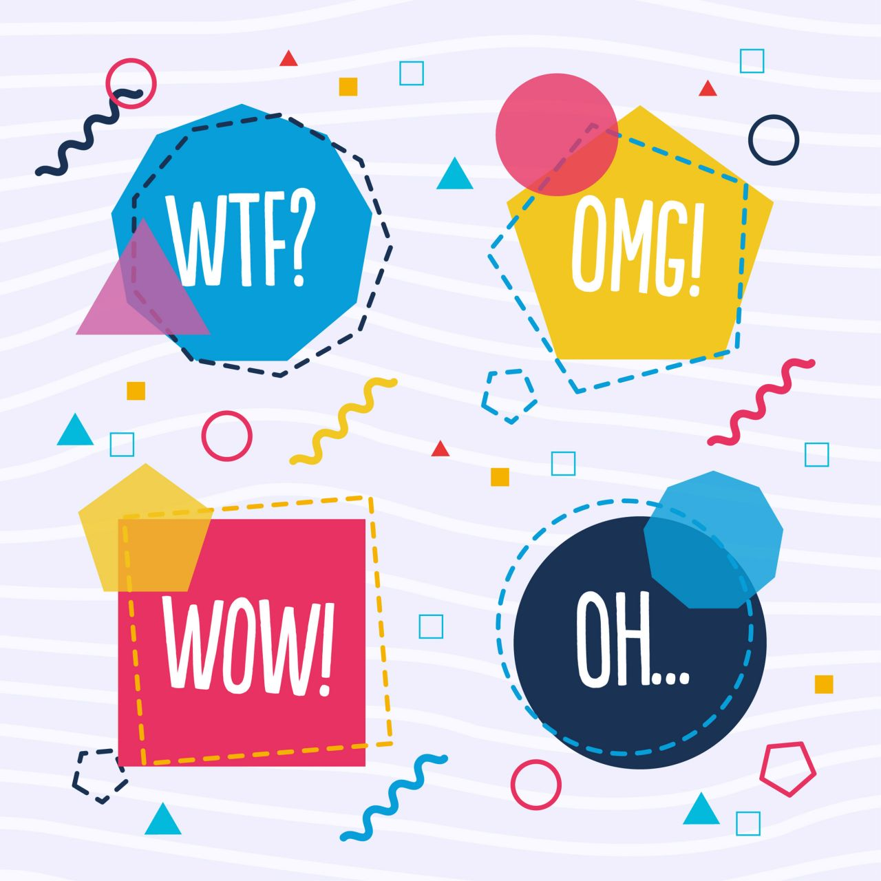 "Free vector ""Geometrical vector speech bubble shapes"""