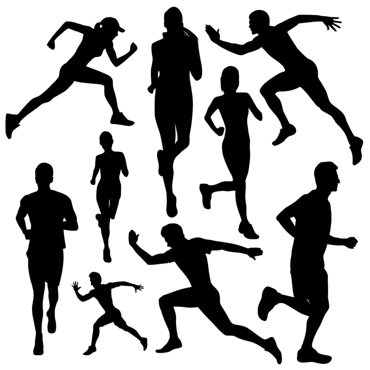 "Free vector ""Running people silhouettes"""