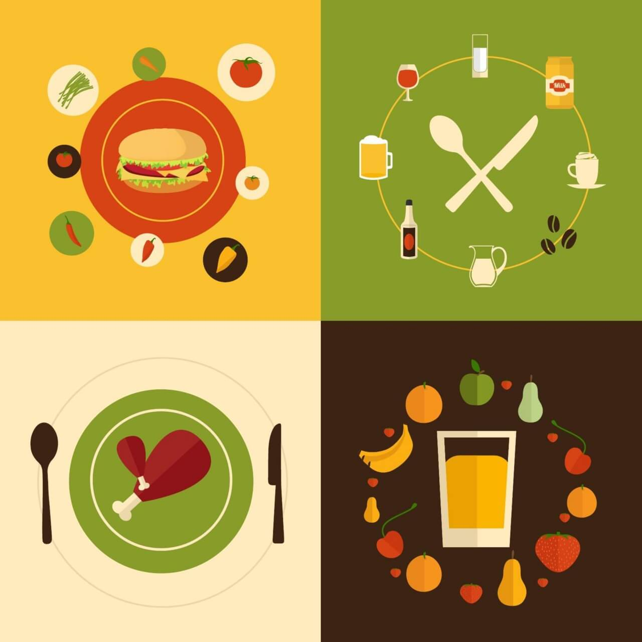 "Free vector ""Food flat design concept icons """