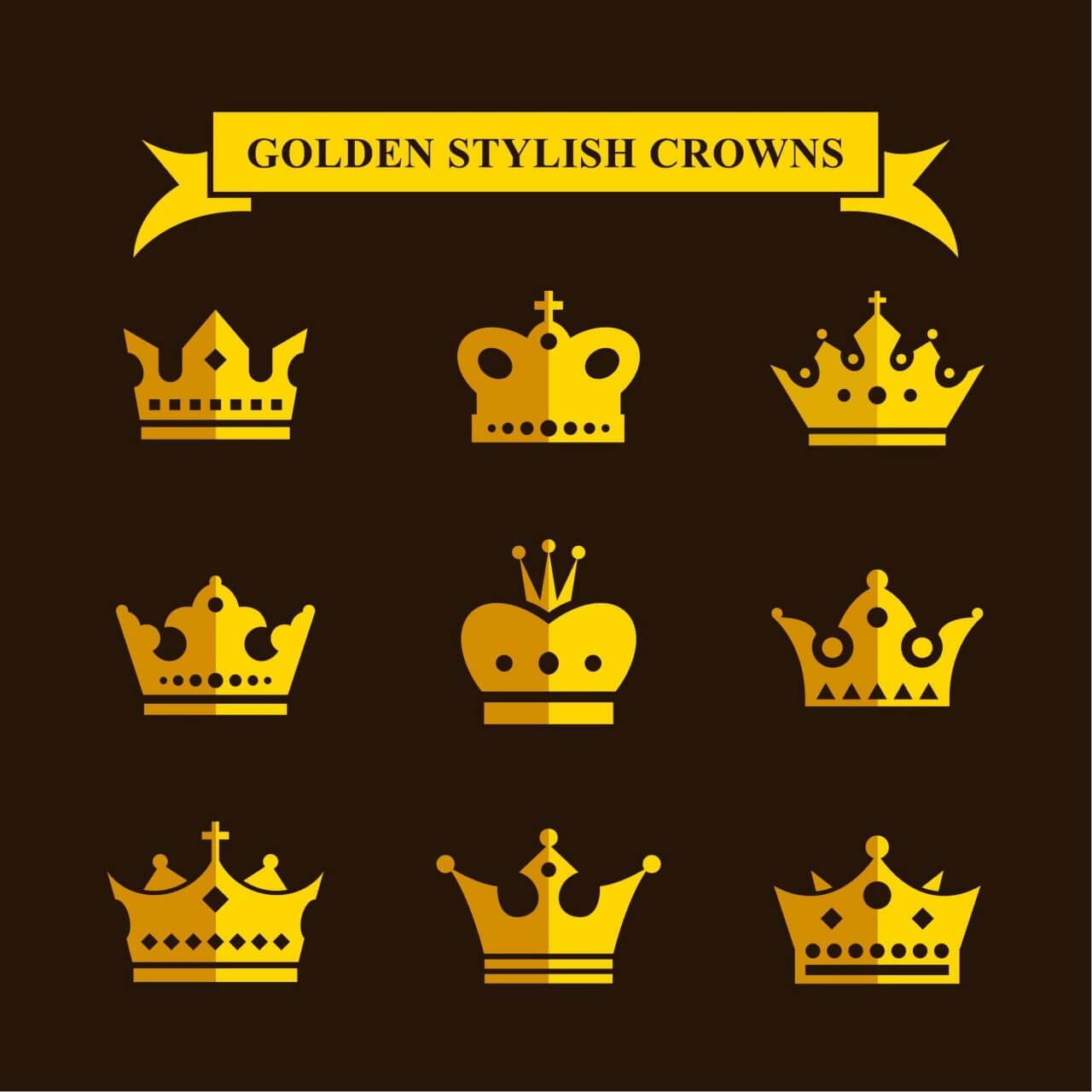 """Free vector """"Golden Stylish Crowns"""""""