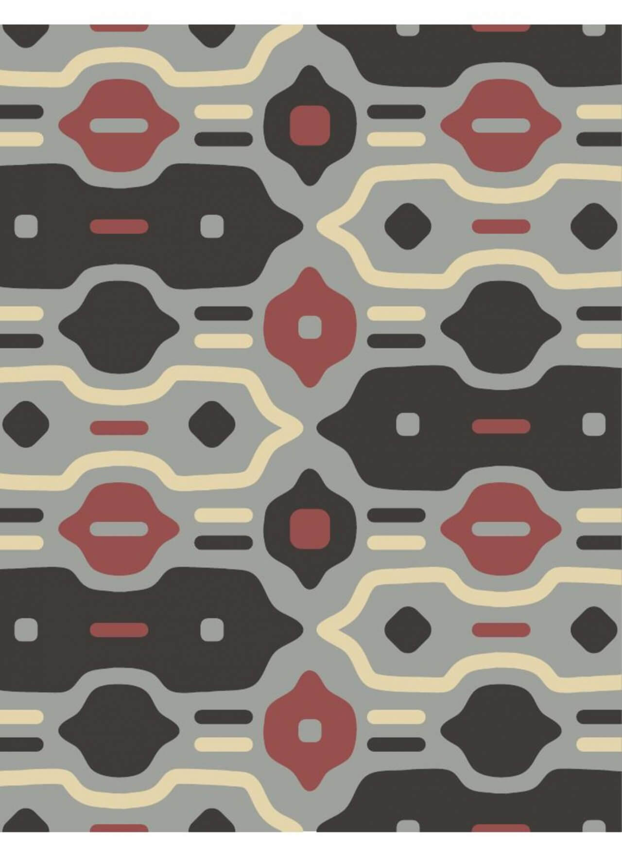 "Free vector ""Retro Black, Red, and Cream Pattern"""