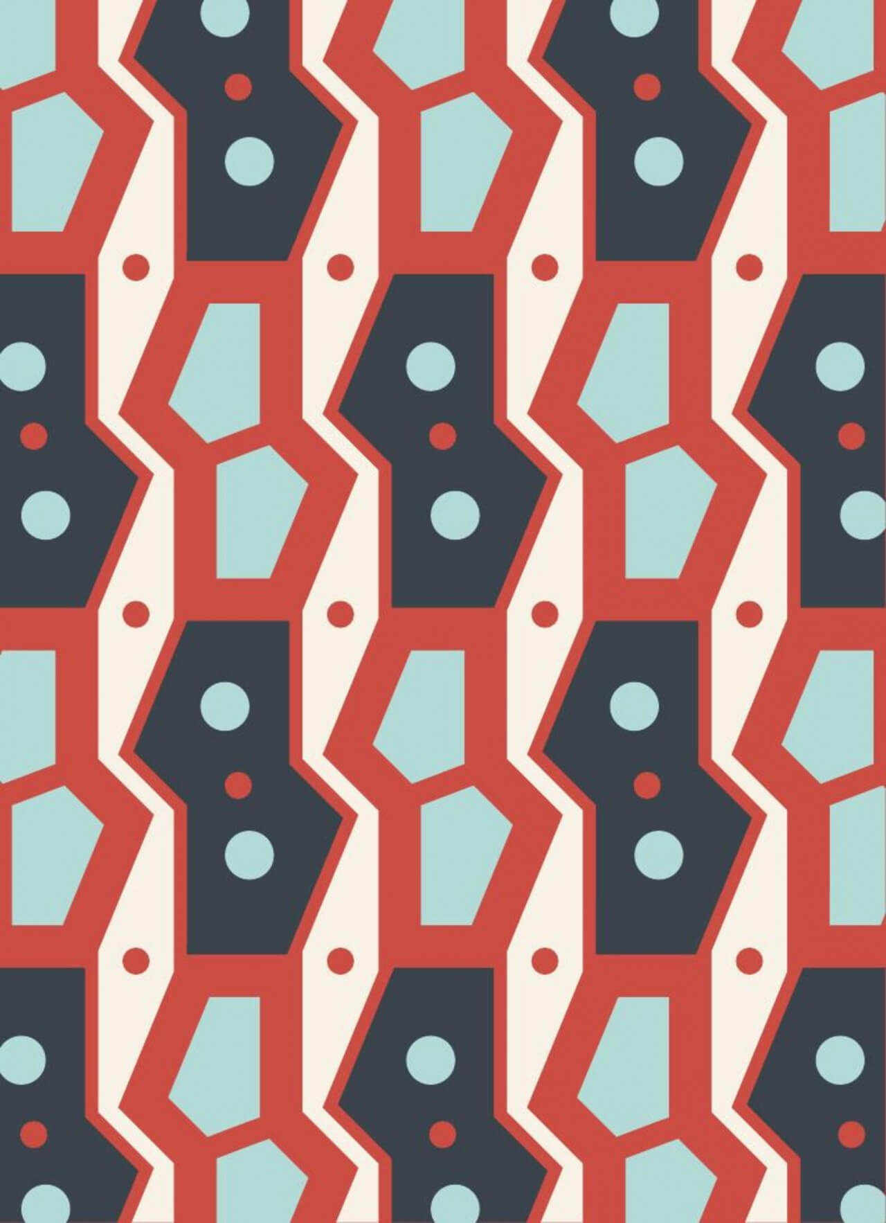 """Free vector """"Retro Geometric Blue and Red Pattern"""""""