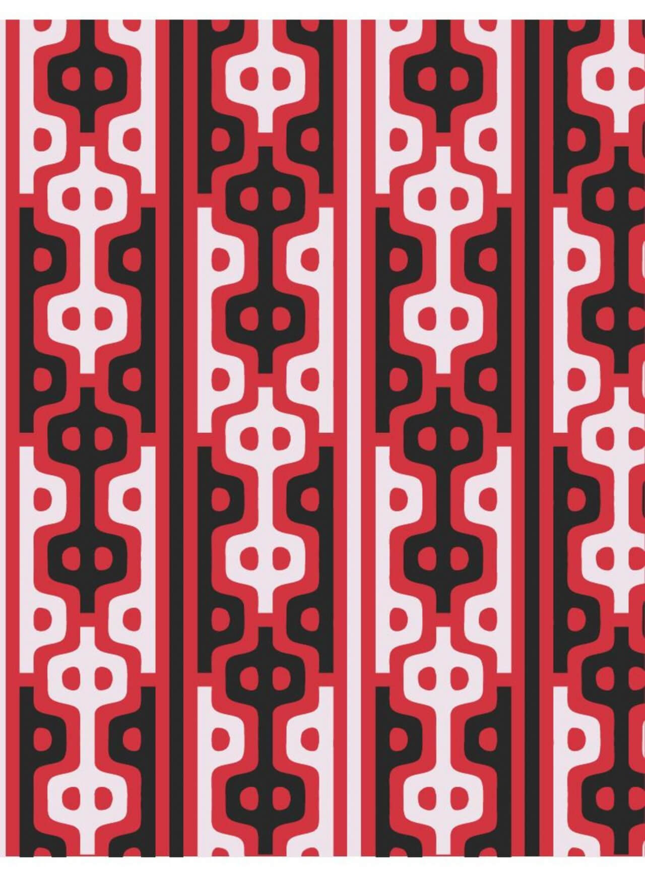 """Free vector """"Asian Style Red, White, and Black Pattern"""""""