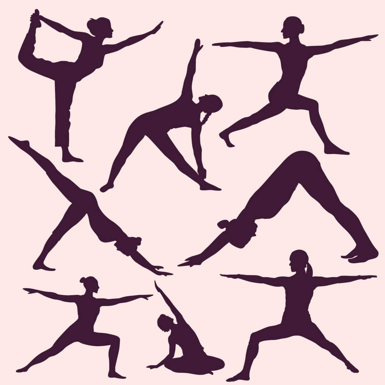 "Free vector ""Yoga poses silhouettes"""