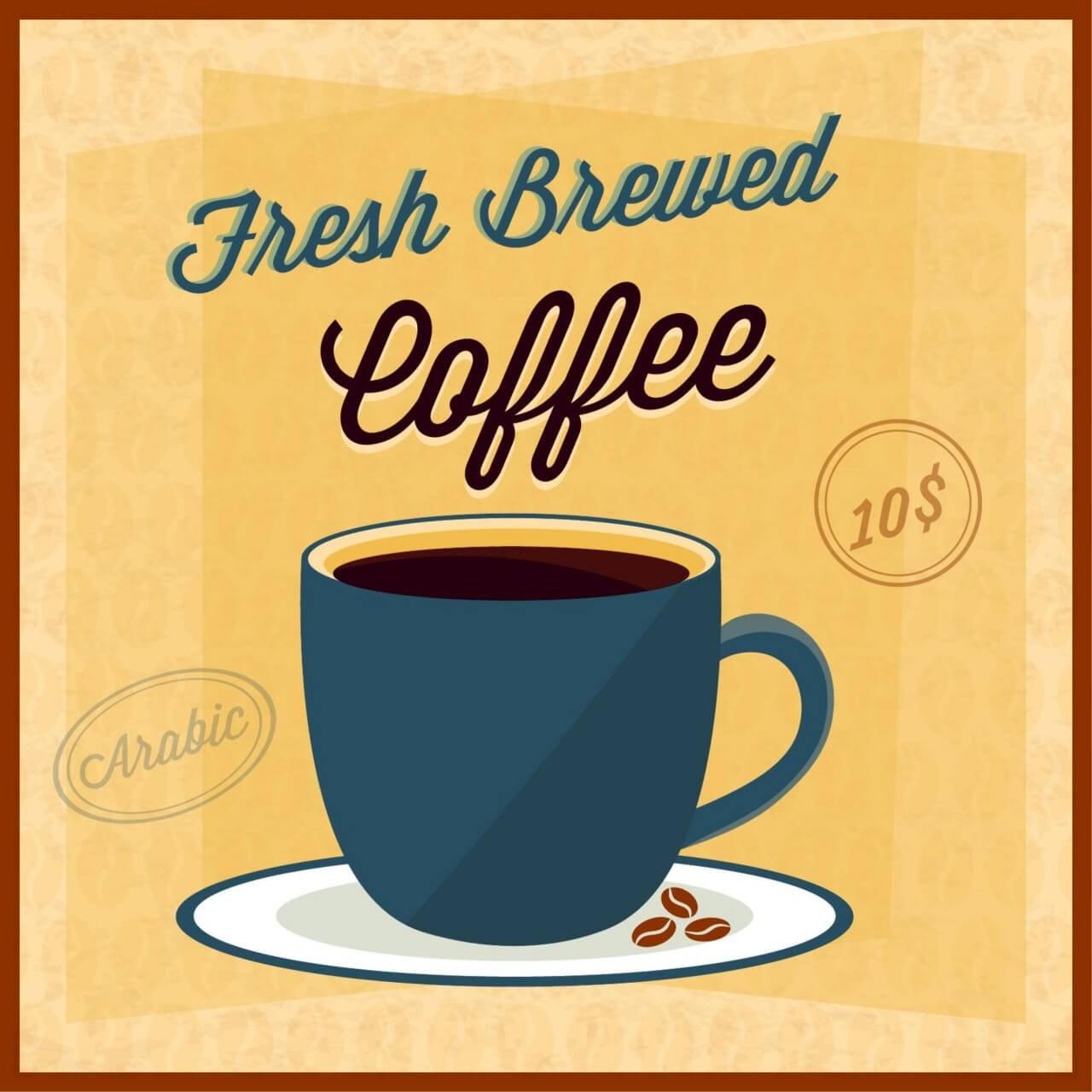 """Free vector """"Coffee illustration with coffee cup"""""""