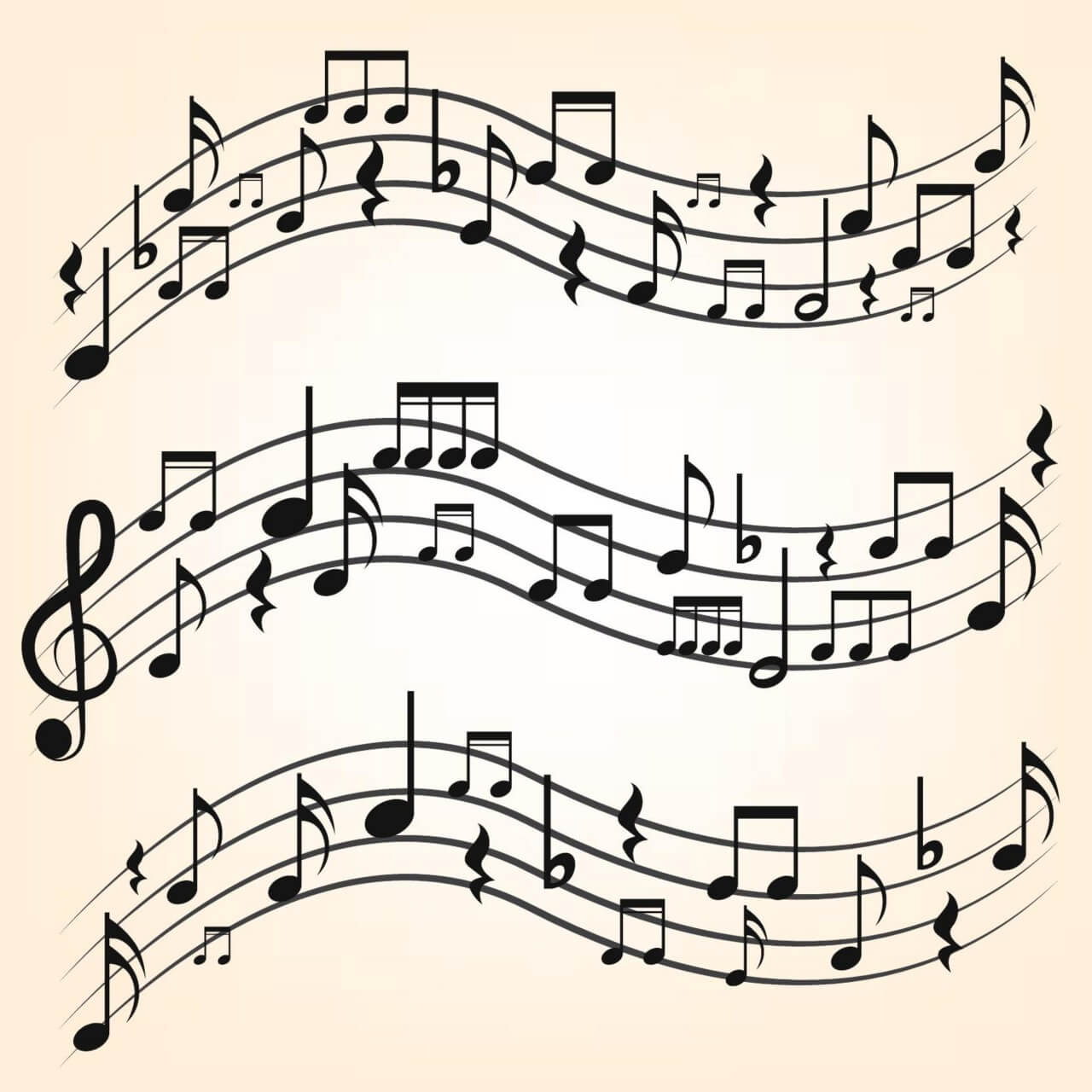 "Free vector ""Music notes on staves"""