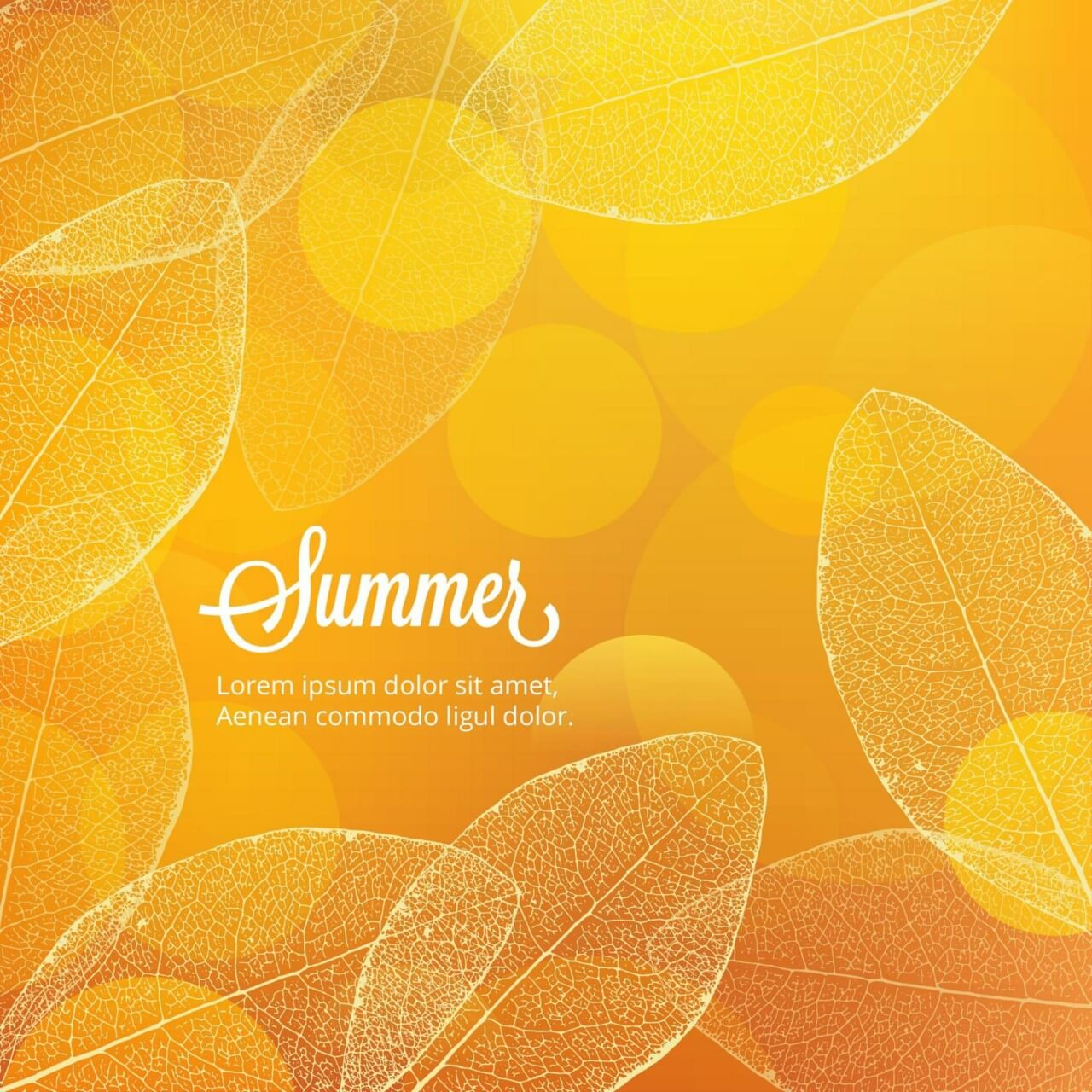 "Free vector ""Summer illustration with leaves"""