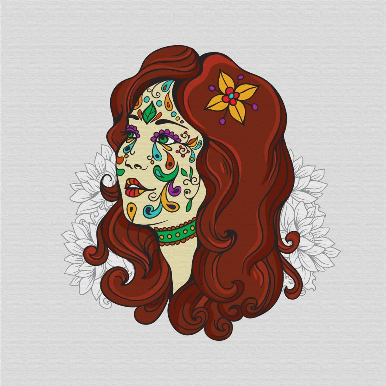 """Free vector """"Day of the dead girl with flowers"""""""