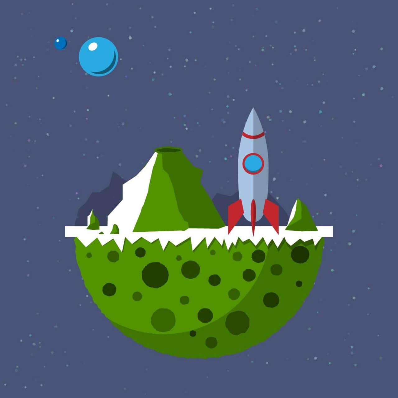 "Free vector ""Space rocket landing on forbidden planet"""