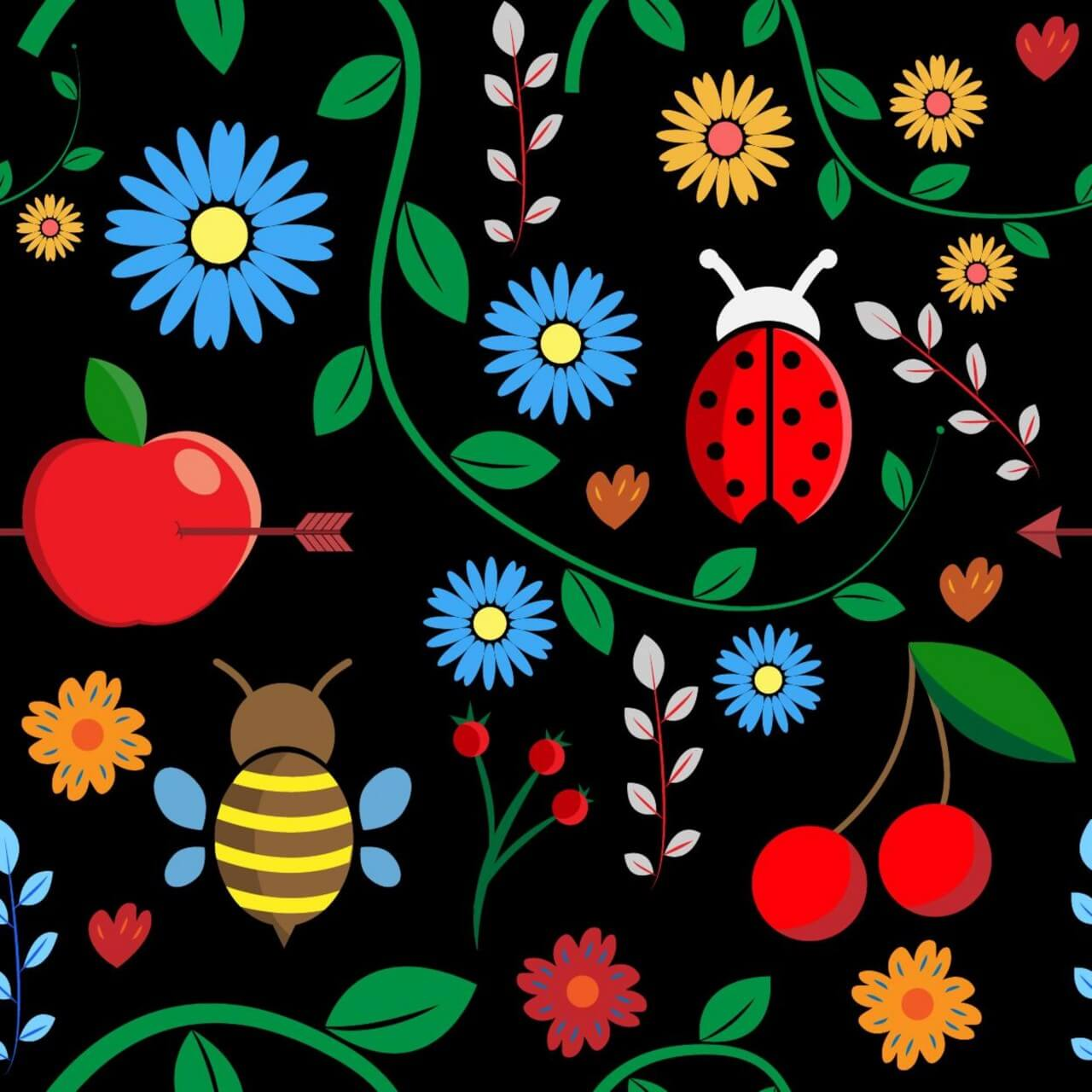 "Free vector ""Pattern with leaves, berries, bugs, flowers, apple, branches"""