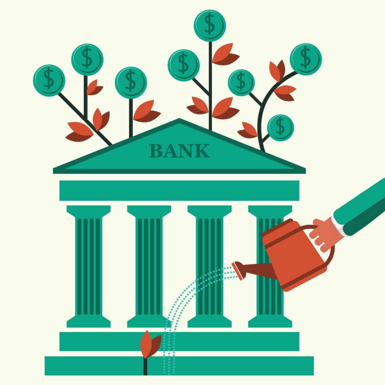 "Free vector ""Hand watering a money plant and bank building"""