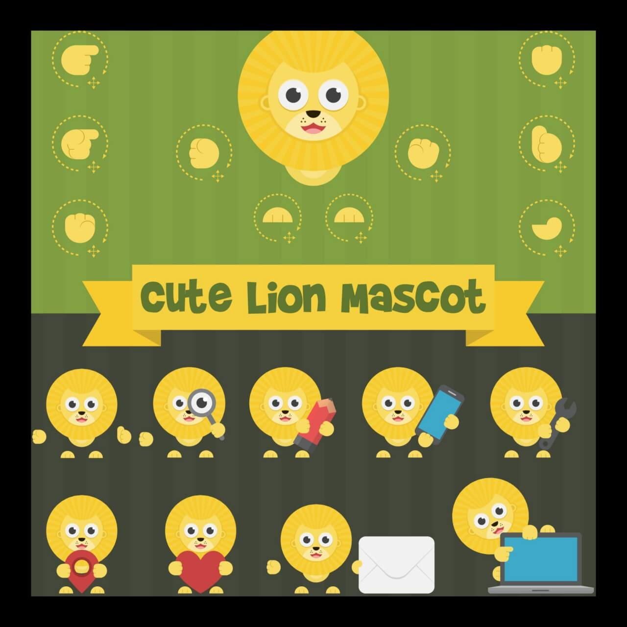 "Free vector ""Cute Lion Mascot Kit"""