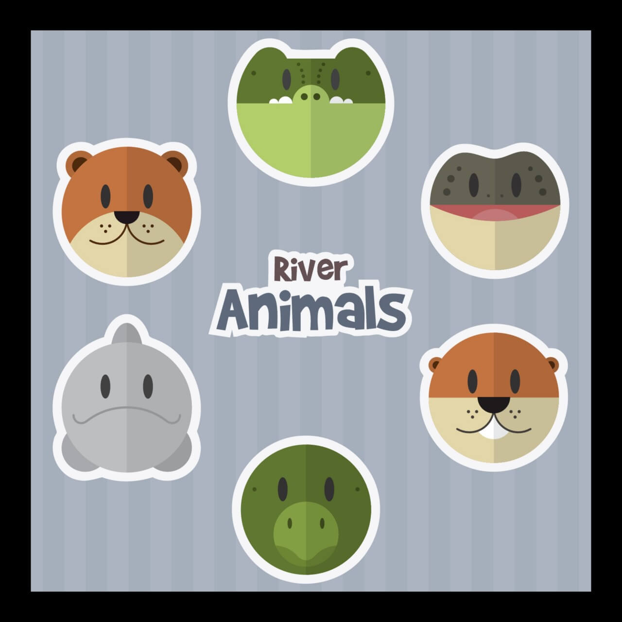 "Free vector ""River Animals"""