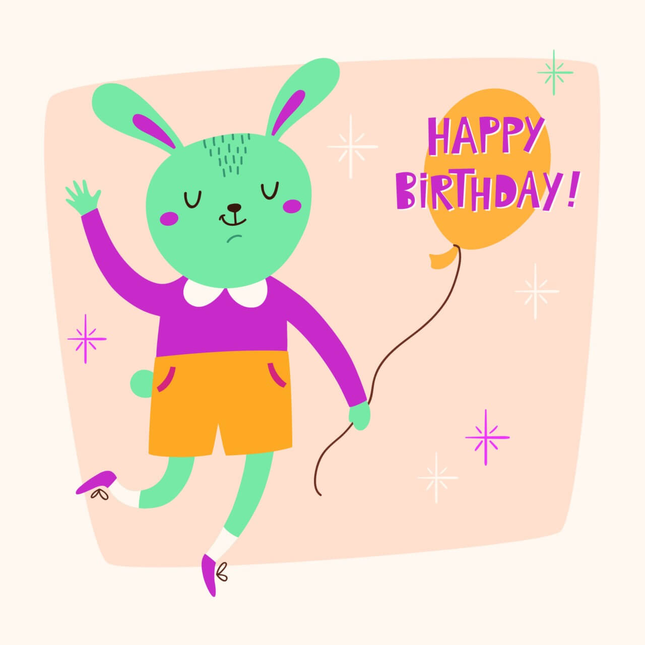 "Free vector ""Happy Birthday card with cute bunny"""