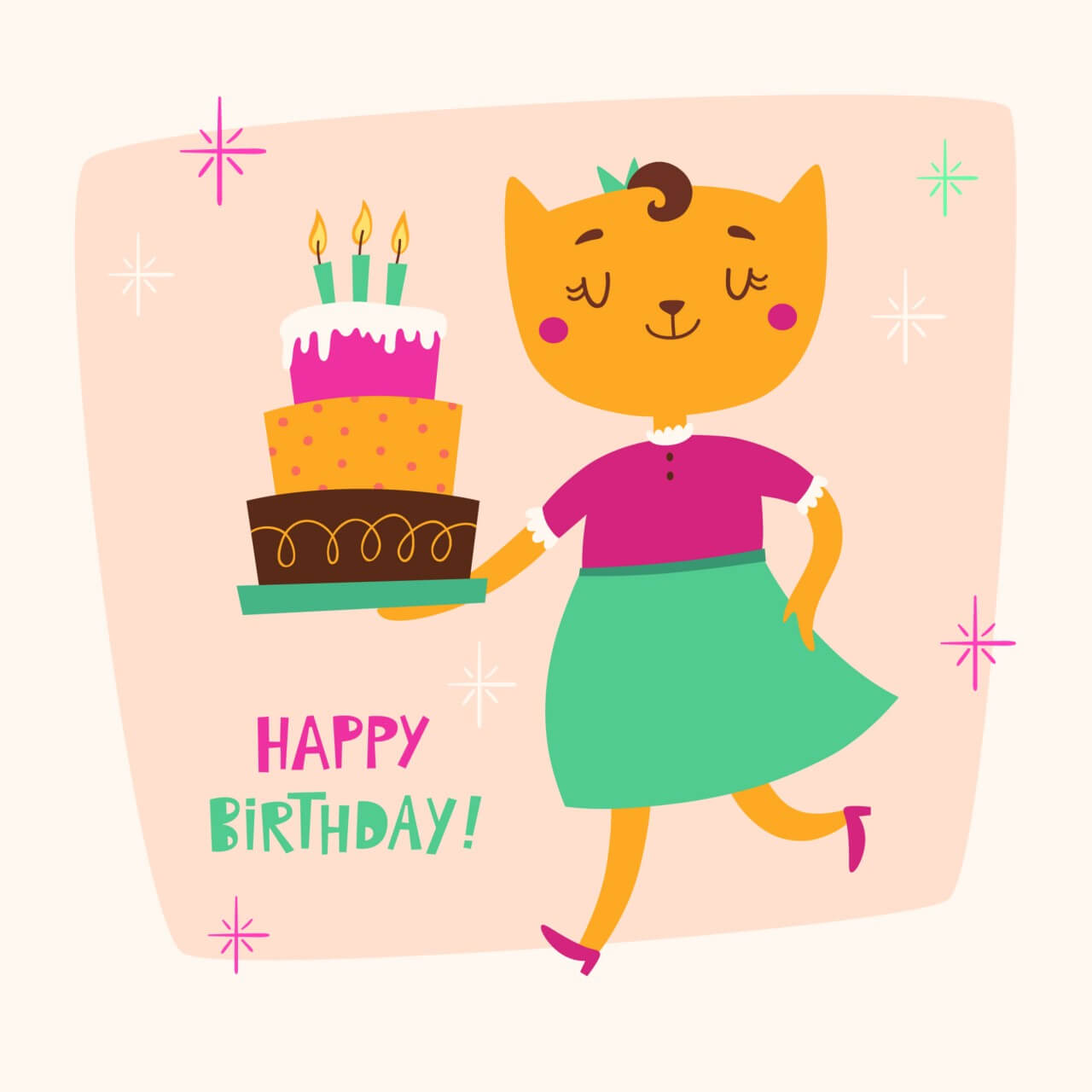 """Free vector """"Happy Birthday card with cute cat"""""""