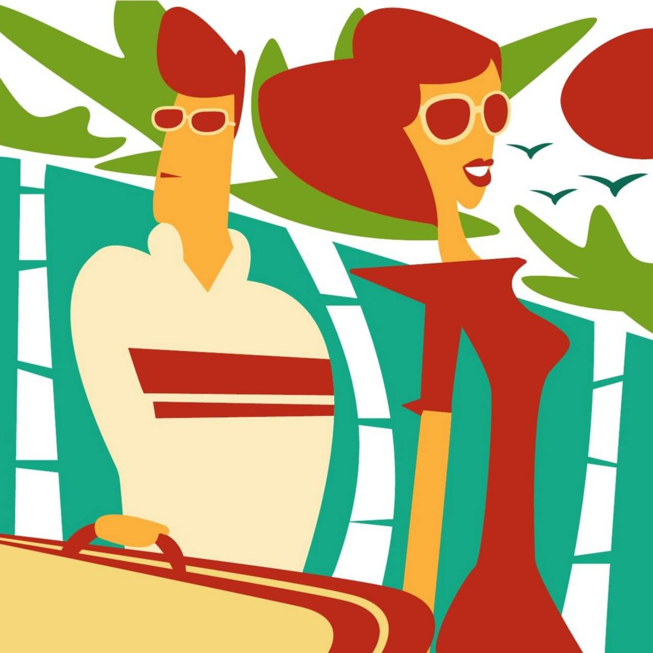 "Free vector ""Travelling man and woman"""
