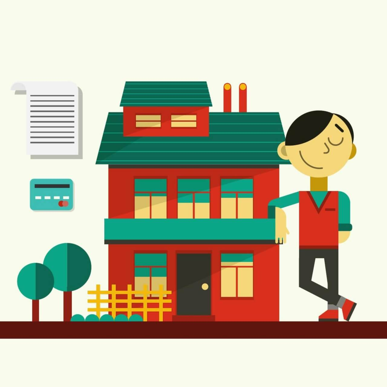 "Free vector ""Happy guy standing near his house"""