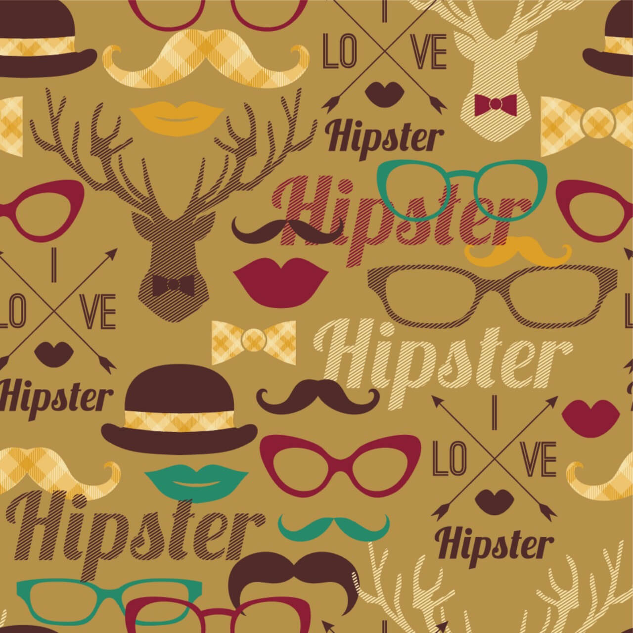 """Free vector """"Hipster seamless pattern."""""""