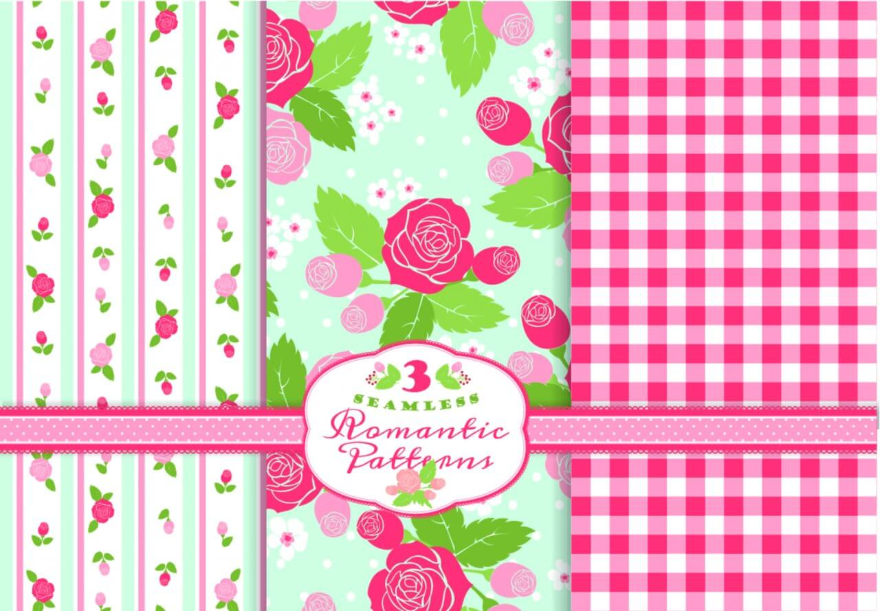 "Free vector ""Set of romantic patterns"""