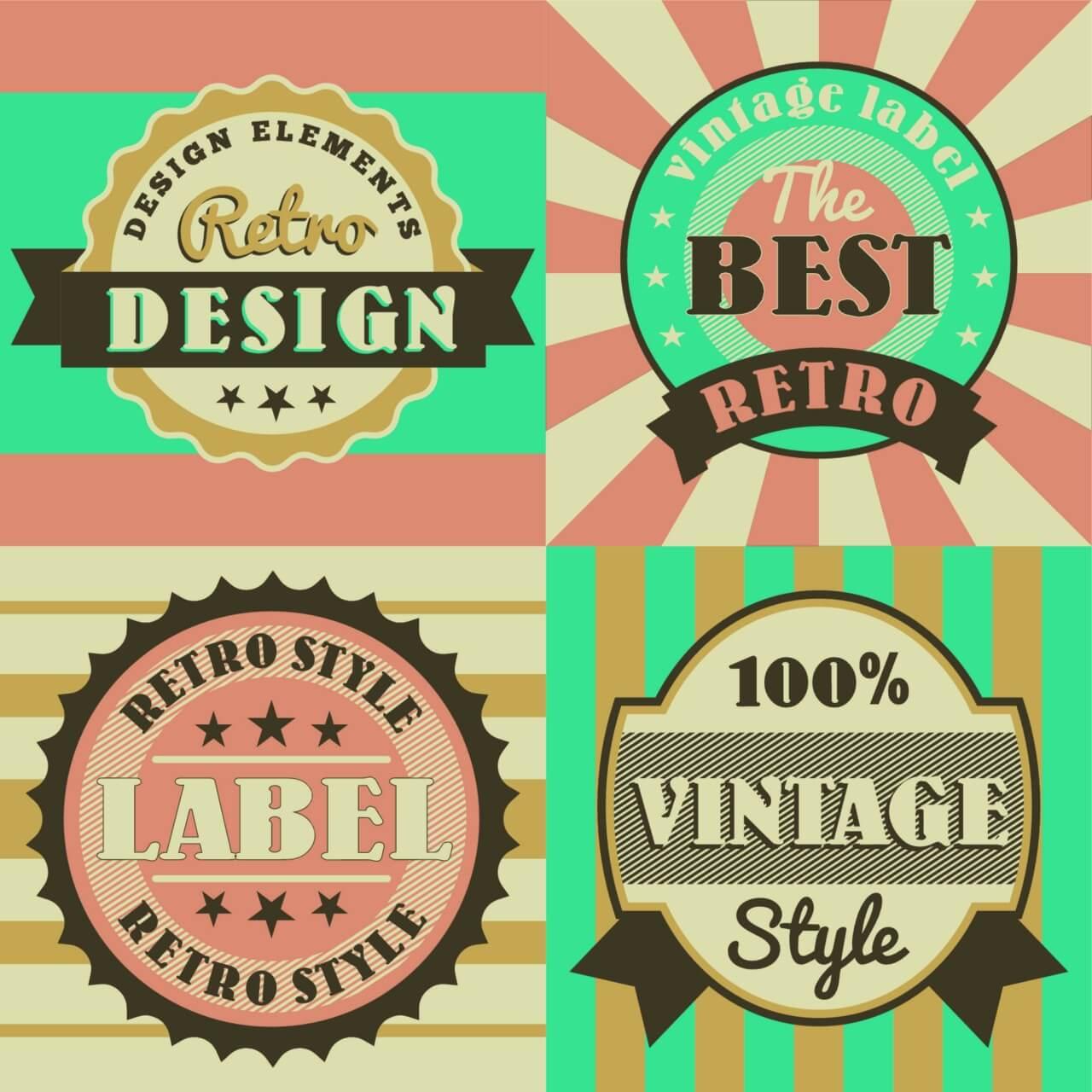 "Free vector ""Set of retro vintage badges"""