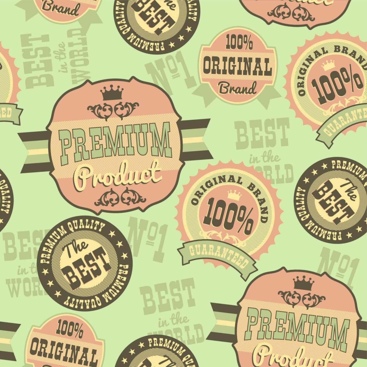 """Free vector """"Seamless pattern with retro vintage badges"""""""