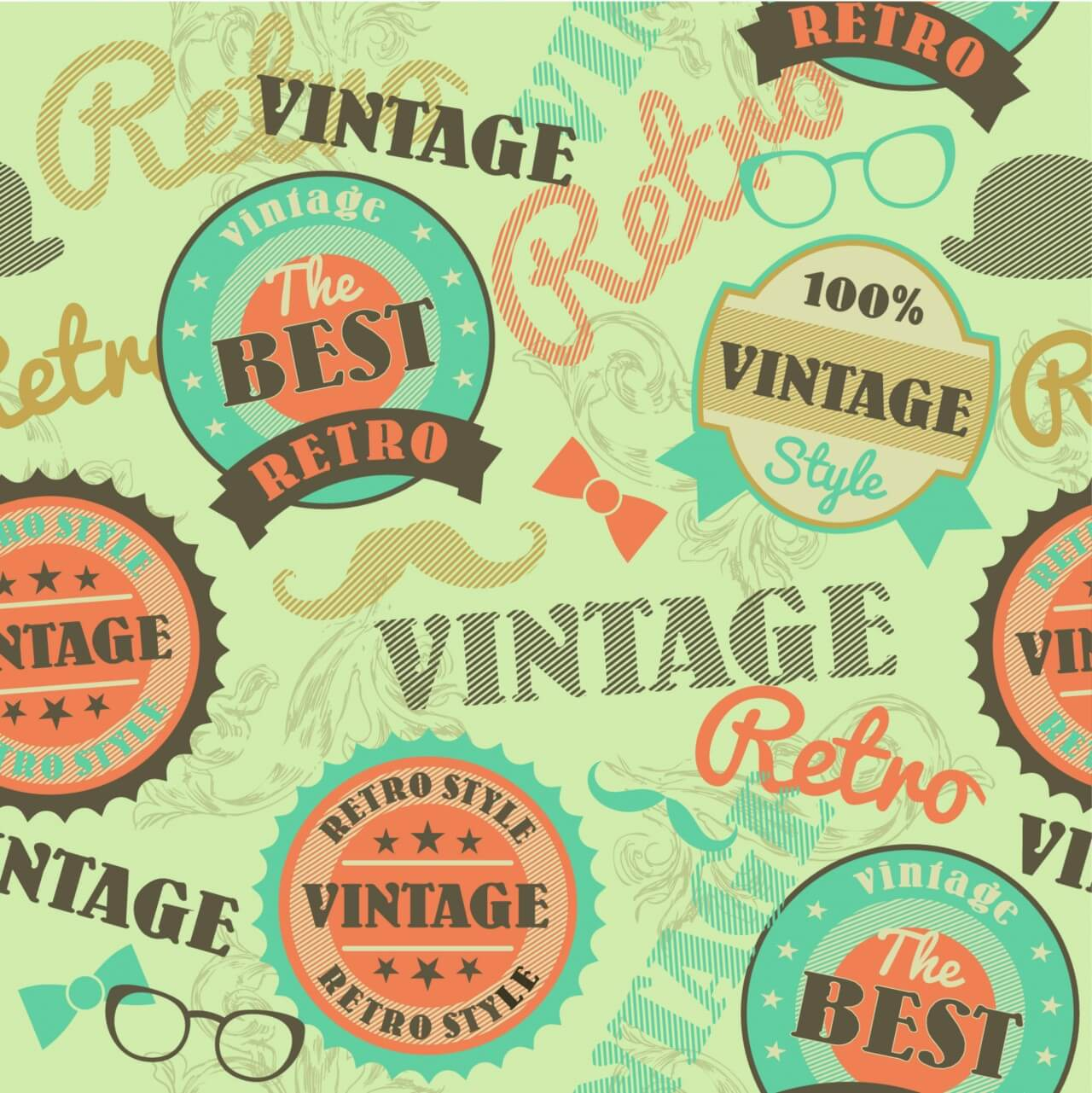 "Free vector ""Seamless pattern with retro vintage badges"""