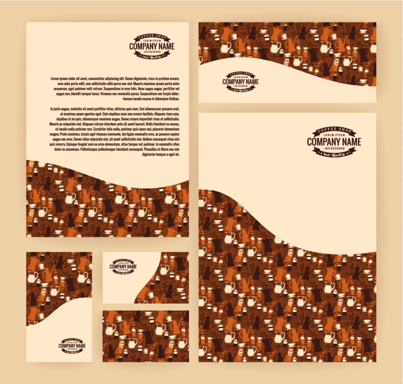 """Free vector """"Set of business templates for coffee shop. Vector background."""""""
