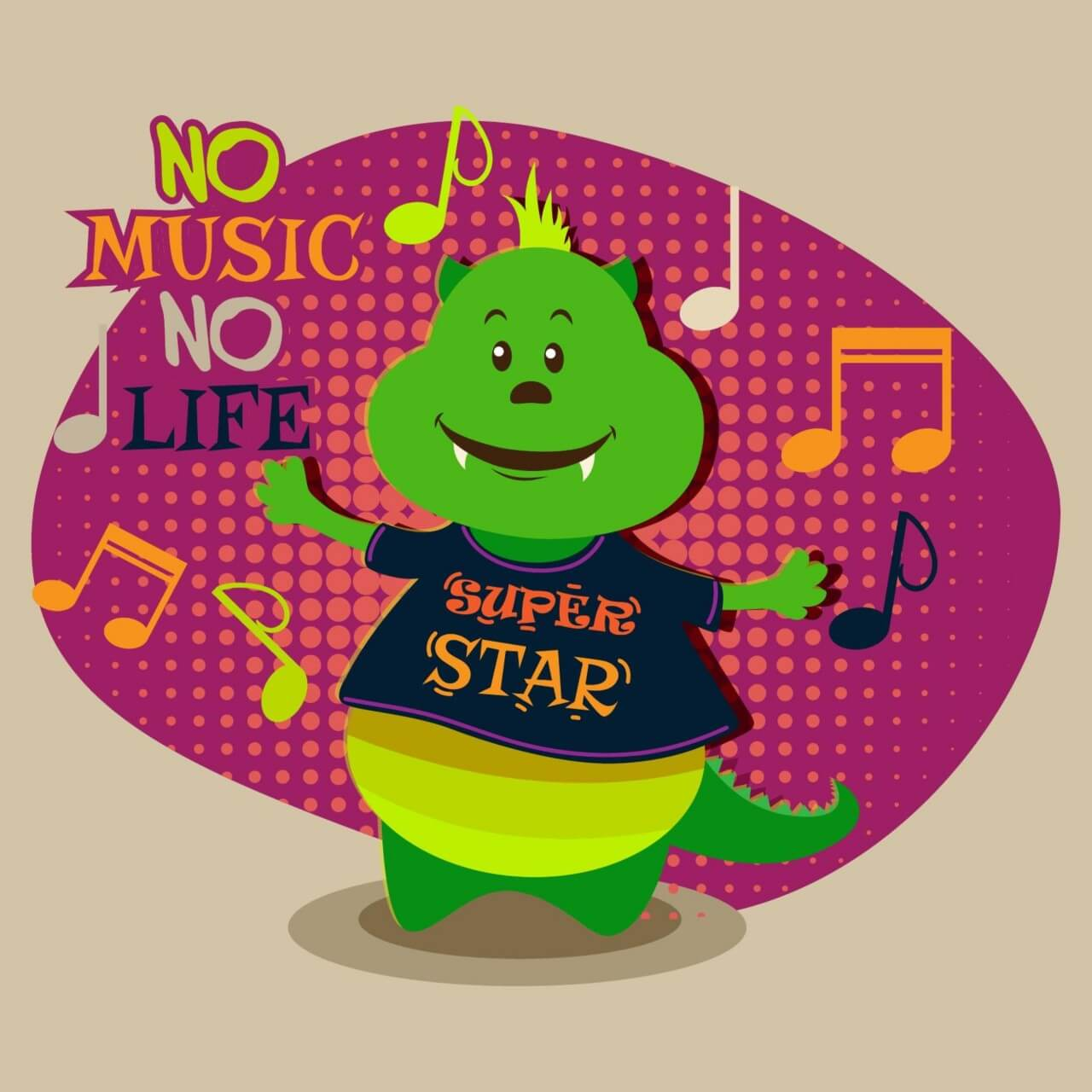 """Free vector """"Music illustration with cute monster"""""""