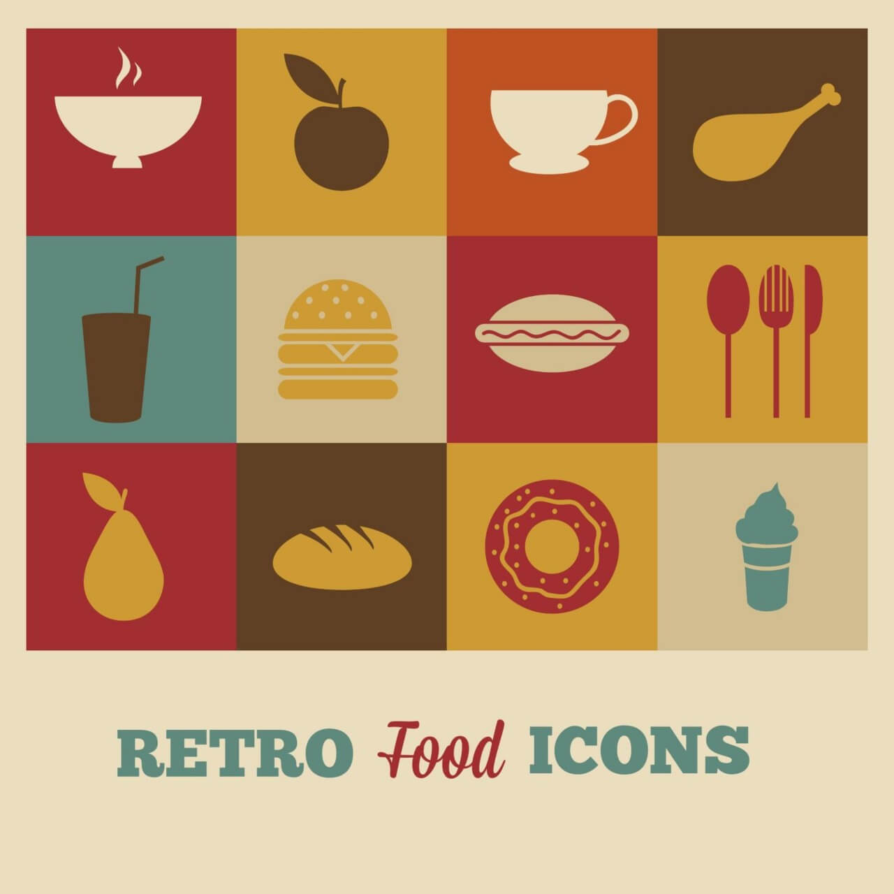 "Free vector ""Set of retro food icons"""