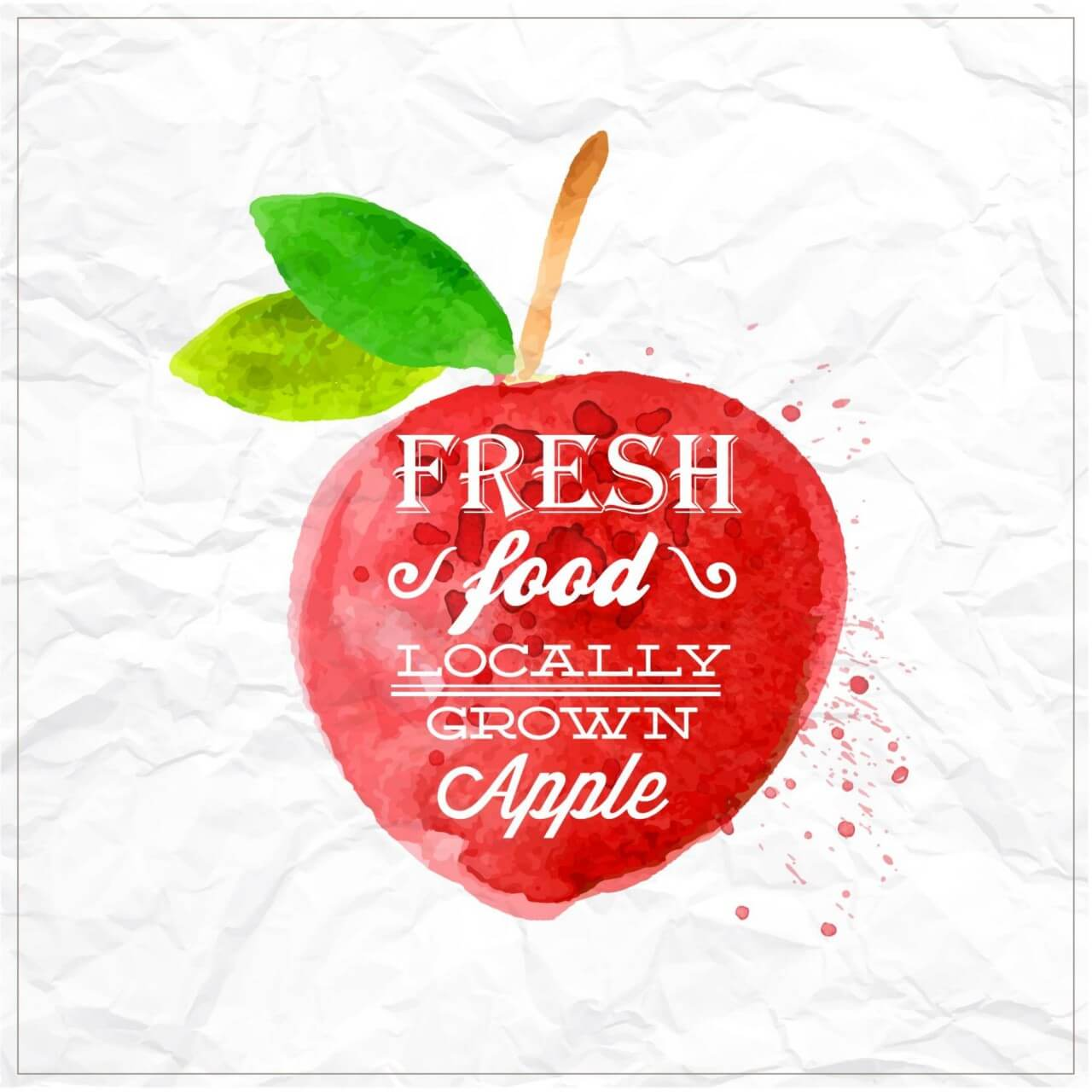 "Free vector ""Watercolor apple with typography"""