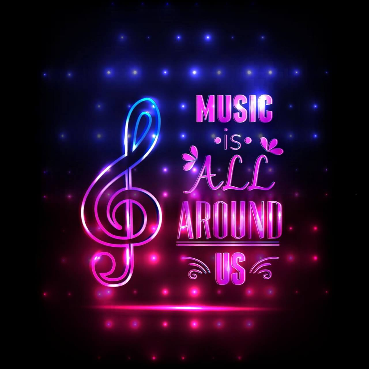 "Free vector ""Music illustration with typography"""