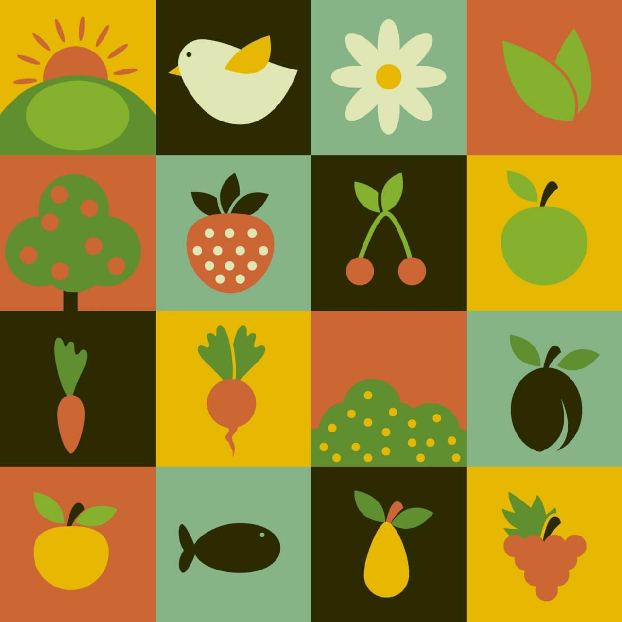 "Free vector ""Food flat vector icons"""
