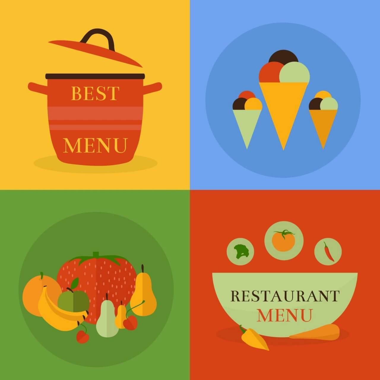 "Free vector ""Food icon concept"""
