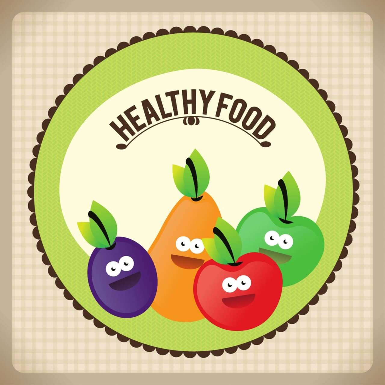 """Free vector """"Healthy food illustration with fruits"""""""