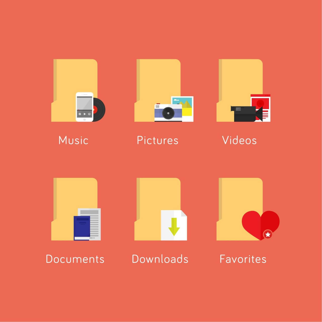 "Free vector ""Media file folder icons"""