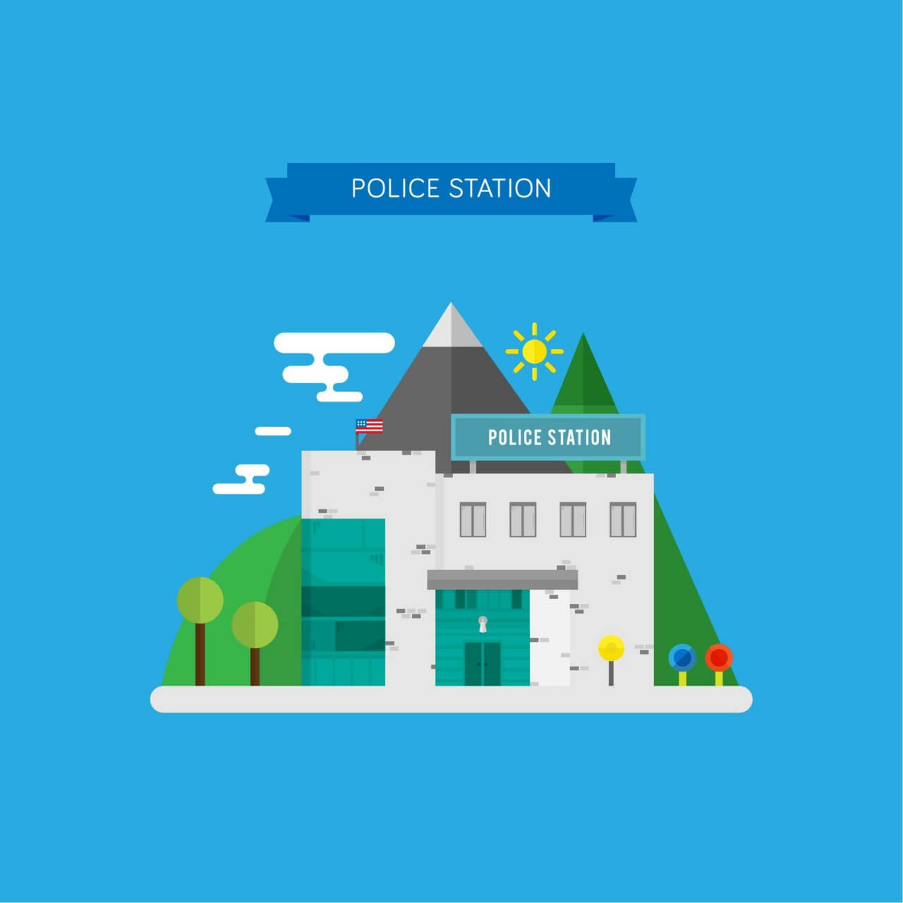 """Free vector """"Vector Illustration of a Police Station"""""""