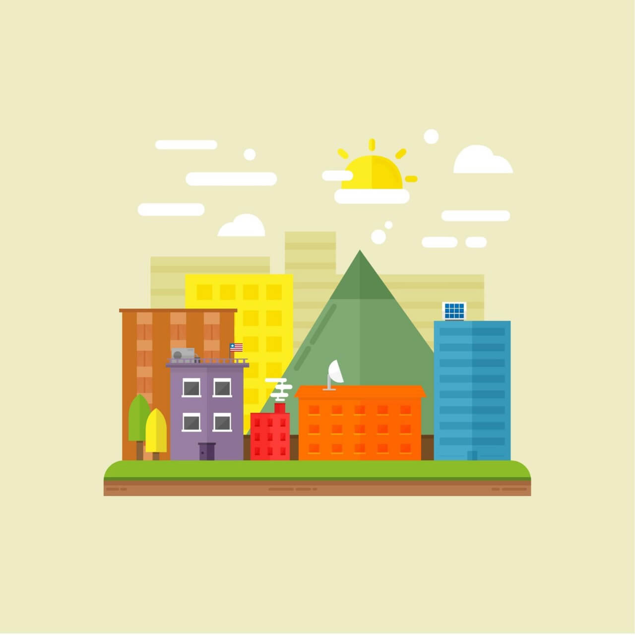 "Free vector ""Urban scene illustration"""