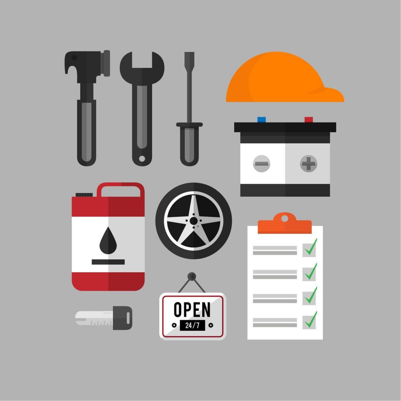 """Free vector """"Mechanic and car repair kit"""""""
