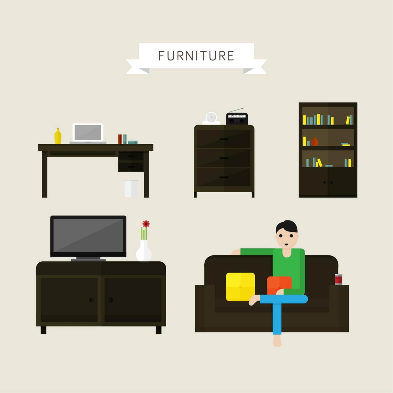 "Free vector ""House and office furniture illustrations"""
