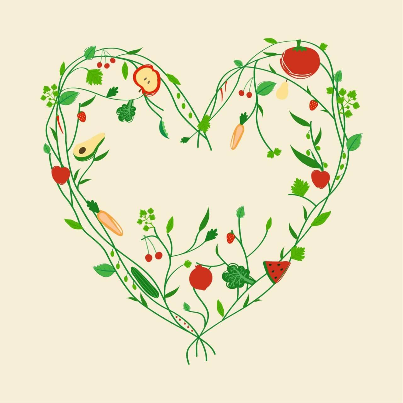 """Free vector """"Decoration with vegetables and fruits"""""""