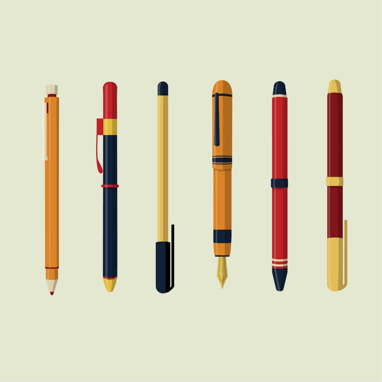 "Free vector ""Writing Instruments"""