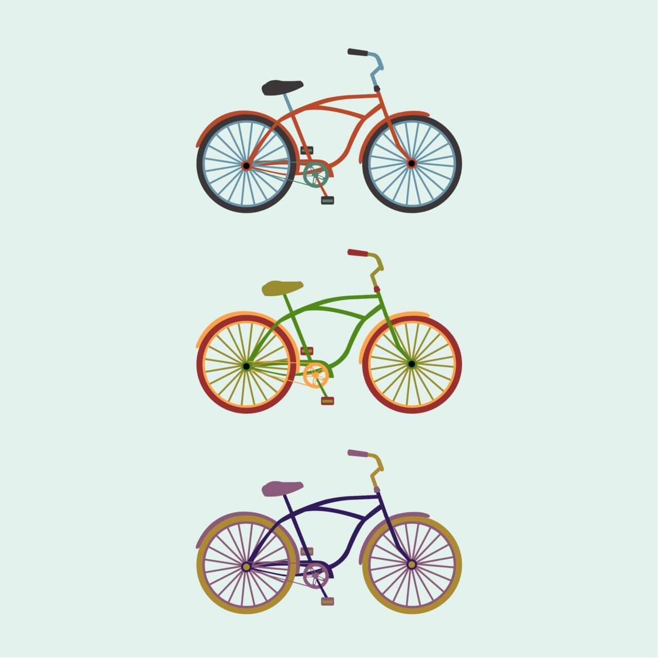 "Free vector ""Colorful Bikes"""